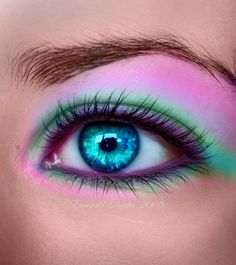 Bright Eye make up. This is pretty funky, don't know if I would ever wear it. Purple green pink.