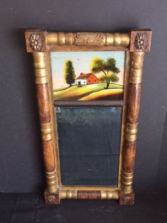 "Overall dimensions including the frame are about 26"" x 13.5"". Condition is as seen in photos. Scratches, chips in the veneer on the frame, missing/worn paint, black spots on the mirror where the reflective coating has worn off, and other wear. 