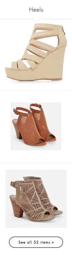 """""""Heels"""" by batmanejohnsan ❤ liked on Polyvore featuring shoes, sandals, nude, caged sandals, nude wedge sandal, criss cross strap sandals, platform shoes, criss cross sandals, brown and brown high heel sandals"""