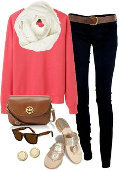 Casual outfit: Sweater, white scarf, skinny jeans, sunglasses, shoulder bag and sandals.