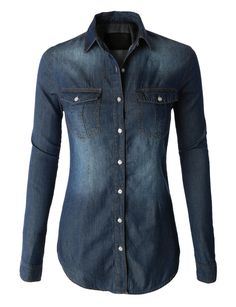 LE3NO Womens Vintage Button Down Jean Denim Shirt with Front Pockets