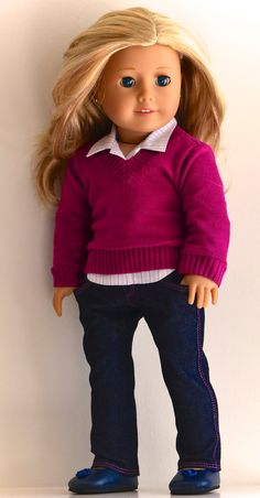 American Girl Doll Clothing. Skinny jeans, Shirt and Sweater ensemble by Simply 18 Inches.