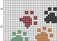 Cross stitch pattern of a heart made up of pawprints. This is an easy and fun pattern to stitch and is perfect for any animal lover. A larger version of this design is available here: https://www.etsy.com/uk/listing/505220815/ And a personalised larger version is available here: