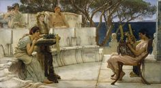 """Safo y Alceo"" Obra de Sir Lawrence Alma-Tadema Walters Art Museum. ""Sappho and Alcaeus"" Work by Sir Lawrence Alma-Tadema Walters Art Museum. Lawrence Alma Tadema, Lyric Poetry, Jean Leon, Art Occidental, Pre Raphaelite, Art Gallery, Fat Cats, Ancient Greece, Ancient Rome"