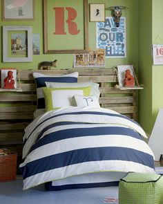 like the pallet headboard. same colors he already has, just add some orange