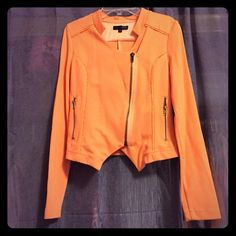 LovPosh jacket in peach Beautifully designed versatile jacket! Designed like a moto jacket with working zipper pockets and quilted shoulders and back! Brand new without tag and it's in perfect condition!! Lovposh Jackets & Coats