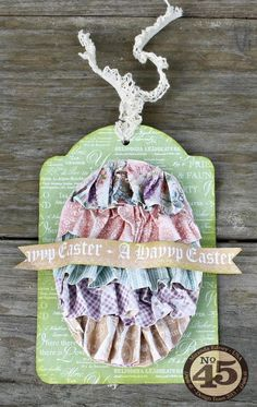 Love this egg-cellent ruffle tag from Miranda! This great project even has a video tutorial #graphic45 #tags