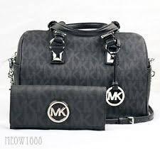 929af6fd25b4 Michael Kors MK Signature Black PVC Silver Logo Buckle Belt 553376 ... item  3 NWT Michael Kors MK Signature Logo Medium GRAYSON Satchel Bag BLACK  SILVER ...