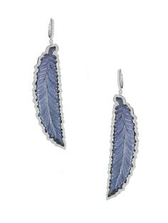 Allison Joy Tourmaline & Diamond Feather Drop Earrings