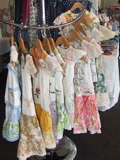 Little girls dresses made from vintage fabric, embroidery and doilies. Mathildas Market Hobart 27th March 2010   Flickr - Fotosharing