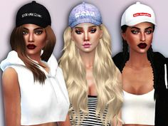 These caps with embroideries on the front will make any female sim feel like a modern citizen! 6 designs.  Found in TSR Category 'Sims 4 Female Hats'