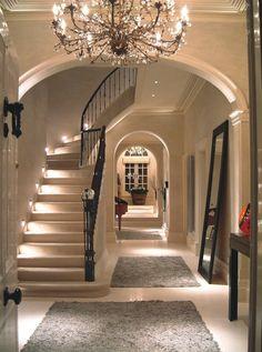58 ideas for house entrance lighting Led Hallway Lighting, Entrance Lighting, Ceiling Lighting, Interior Design London, Residential Interior Design, Shabby Chic Hallway, Pink Hallway, Small Hallway Decorating, Hallway Inspiration