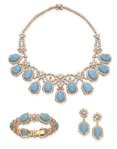 A TURQUOISE AND DIAMOND SUITE, BY CHAUMET   Comprising a fringe necklace set with pear-shaped turquoise cabochons within diamond surrounds to diamond floral clusters and a diamond backchain, a matching bracelet and a pair of pendent ear clips en suite, the turquoise drops detachable, necklace 45.0 cm long, bracelet 19.0 cm long, with French assay marks for gold  Signed Chaumet Paris, with maker's mark JC for Chaumet.