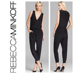 "SuperCHIC Rebecca Minkoff Silk Jumpsuit It doesn't get much better than this in the jumpsuit category. You can literally wear this piece everywhere because it's perfect to dress up or down. ""Mara Wrap"" if you'd like to look it up. Retail price is $368, and I have size 4 & 6 of this beauty so feel free to comment here and I will get it mailed out right away Additional details:  Crossover v neck, sleeveless, cinched waist Off-seam pockets, tapered leg, true to size according to most reviews…"