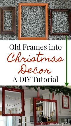 DIY Home Decor Ideas : Illustration Description These pretty Christmas frames are such a fun and simple craft project! -Read More – Christmas Frames, Christmas Holidays, Christmas Ornaments, Christmas Ideas, Christmas Stuff, White Christmas, Vintage Christmas, Old Picture Frames, Old Frames