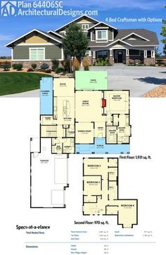 Architectural Designs 4 Bed Craftsman House Plan 64406SC gives you over 2,900 sq. ft. of living and a master bedroom on the main floor and 3 beds upstairs. Ready when you are. Where do YOU want to build?