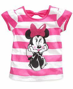 Disney Little Girls' Minnie Mouse Striped Tee