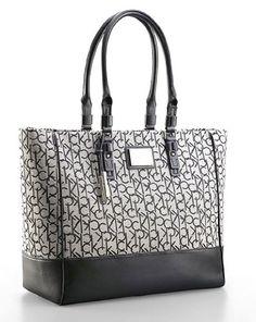 2e352a3547 Calvin Klein Womens Logo Jacquard Fabric Shopper Tote Shoulder Bag Handbag  (Granite) Jacquard Fabric
