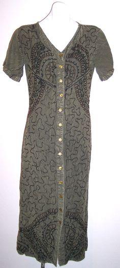 MPH Dress M Khaki Green Rayon Soutache Embroidered Boho Hippie Festival Sundress #MPH #Sundress #SummerBeach