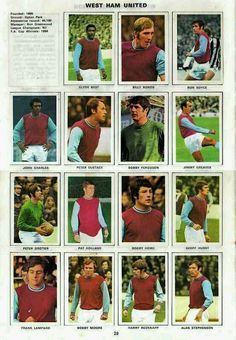 West Ham stickers for 1970.