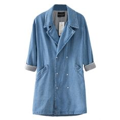 Blue Trendy Ladies Turndown Collar Long Denim Trench Coat (2,515 INR) ❤ liked on Polyvore featuring outerwear, coats, blue, long coat, denim coat, blue long coat, trench coat and collar coat