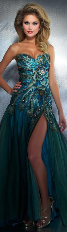 Mac Duggal couture dress peacock Style outfit clothing women RORESS apparel fashion amazing blue evening