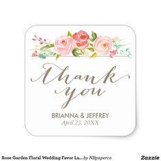 """Rose Garden Floral Wedding Favor Labels Square Stylish favor label that says """"thank you"""" in a pretty script font and features watercolor roses. Visit the collection to see other products from this suite."""