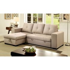 Furniture of America Sagel Reversible Sectional with Pull-out Sleeper
