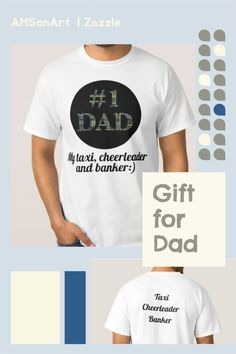 #1 Dad designed by AMSonArtMy Taxi, cheerleader and banker text can be altered along with text on the back.Men's Basic T-Shirt Comfortable, casual and loose fitting, our heavyweight t-shirt will easily become a closet staple. Made from 100% cotton, it's unisex and wears well on anyone and everyone. We've double-needle stitched the bottom and sleeve hems for extra durability. Thoughtful Gifts For Him, Gifts For Dad, Cheerleading Gifts, Taxi, Things To Buy, Promotion, Unisex, Sleeve, Casual