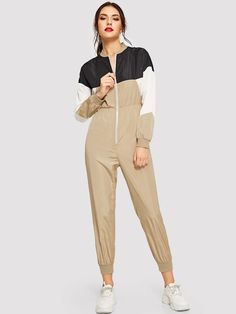 Shop Zip Front Elastic Waist Cut-and-sew Jumpsuit online. SHEIN offers Zip Front Elastic Waist Cut-and-sew Jumpsuit & more to fit your fashionable needs. Sports Models, Shoulder Sleeve, Fashion News, Elastic Waist, Rompers, Sewing, Long Sleeve, Sleeves, How To Wear