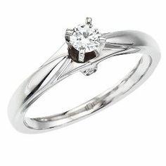 14k White gold Milgrain Diamond QPID Engagement Ring (0.33 tcw)