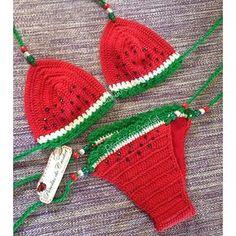 * Pérolas do Crochet: Biquini em crochet Melancia