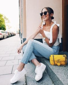 chic and casual white top and jeans; daily wear; street style