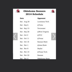 OU's game schedule! For 2014 can't wait!!