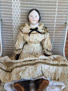 Antique Brown Eyed China Head Doll Porcelain от GretasPlace