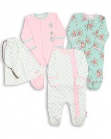 Baby Girl Pack of 3 Floral Sleepsuits