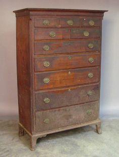 """Pennsylvania Federal walnut tall chest, early 19th c., 66"""" h., 40"""" w."""