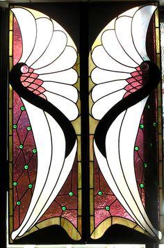 Art Deco - Art Nouveau Stained leaded glass window 54-3/4 H x 34-7/8 Wide -