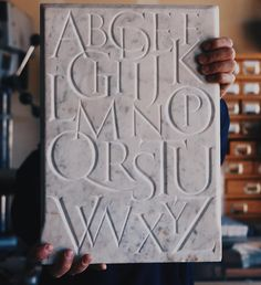 """Here is the finished composition of my Roman alphabet in marble. Thank you all for following along in this process and for all your kind words of…"""