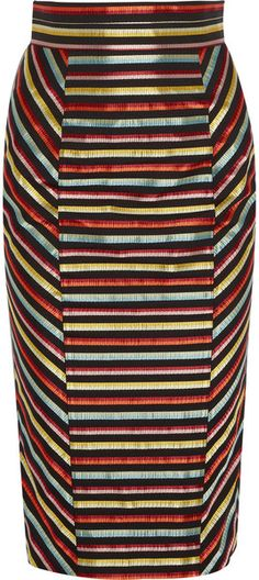 L'Wren Scott Striped Canvas and Silk Pencil Skirt - Lyst