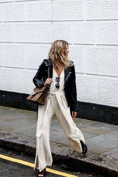 Street Style | Knit Jumpsuit & Leather Biker Jacket
