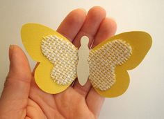 Small Yellow Paper & Burlap Butterflies/3D Paper Butterflies/3D Wall Art/Butterfly Baby Shower/Nursery Decor/Card Stock Butterflies/Set of 3