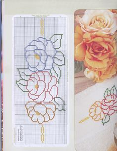 This Pin was discovered by Eli Cross Stitch Rose, Cross Stitch Borders, Stitch 2, Cross Stitch Flowers, Cross Stitch Charts, Cross Stitching, Cross Stitch Patterns, Beading Patterns, Crochet Patterns