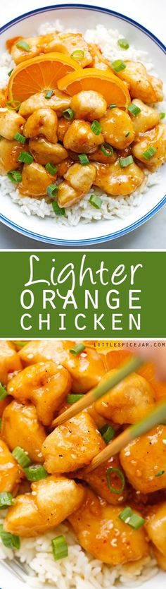 Lighter Orange Chicken - takes just 30 minutes from start to finish and totally healthier than your local take-out! #asianchicken #orangechicken #sweetandsourchicken #chinesefood | Littlespicejar.com