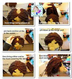 VR Puppet Builds: Making yarn hair for puppets Felt Puppets, Hand Puppets, Puppet Patterns, Doll Patterns, Sewing Patterns, Hand Socks, Custom Puppets, Puppet Crafts, Puppet Making
