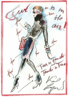Sketch by Karl Lagerfeld for Fendi Fall/Winter
