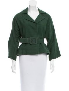 Green Marni notch-lapel jacket with belt accent at waist, dual seam pockets at sides and concealed snap closures at front. Size not listed, estimated from measurements.