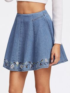 Stagioni Fashion for Women, Denim Skirts for Women. Item: Botanical Embroidered Denim Box Pleated Skirt for Women Box Pleat Skirt, Pleated Skirt, Dress Skirt, Cute Skirts, Mini Skirts, Short Skirts, Denim Skirt Outfits, Mode Chic, Embroidered Clothes