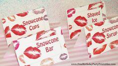 Free Lipstick Kiss Birthday Party Printables