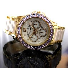 FW830W NATURAL White Dial Ceramic Water Resistant Violet Crystal  Bracelet Watch